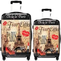 iKase 'Eiffel Tower Kiss' 2-piece Fashion Harside Spinner Luggage Set