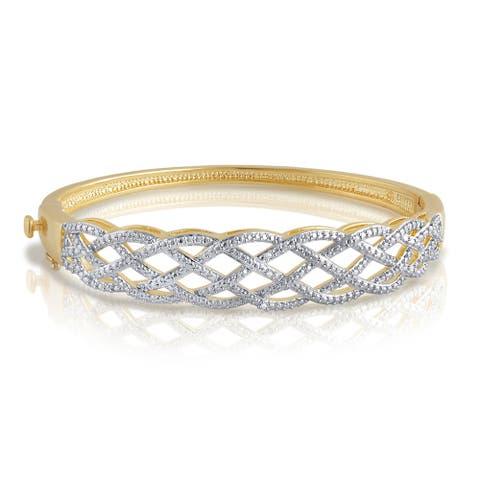 Divina Goldtone Diamond Accent Fashion Bangle. .