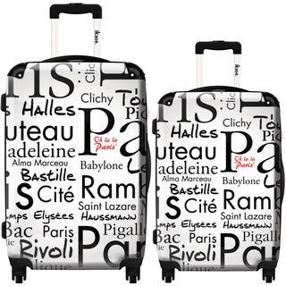 iKase 'Cities of France' 2-piece Fashion Harside Spinner Luggage Set