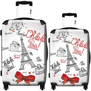 iKase 'Paris Chic' 2-piece Fashion Harside Spinner Luggage Set