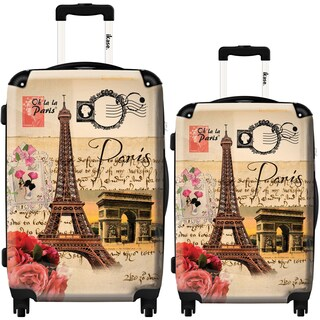 iKase 'Eiffel Tower Stamp' 2-piece Fashion Harside Spinner Luggage Set