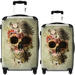 iKase 'Garden Skull Light' 2-piece Fashion Harside Spinner Luggage Set