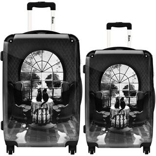 iKase 'Room Skull Black and White' 2-piece Fashion Harside Spinner Luggage Set