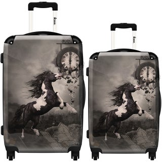 iKase 'Black Frisian Horse' 2-piece Fashion Harside Spinner Luggage Set