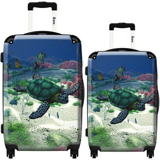 iKase 'Sea Turtle' 2-piece Fashion Harside Spinner Luggage Set