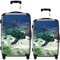 iKase 'Sea Turtle' 2-piece Fashion Harside Spinner Luggage Set