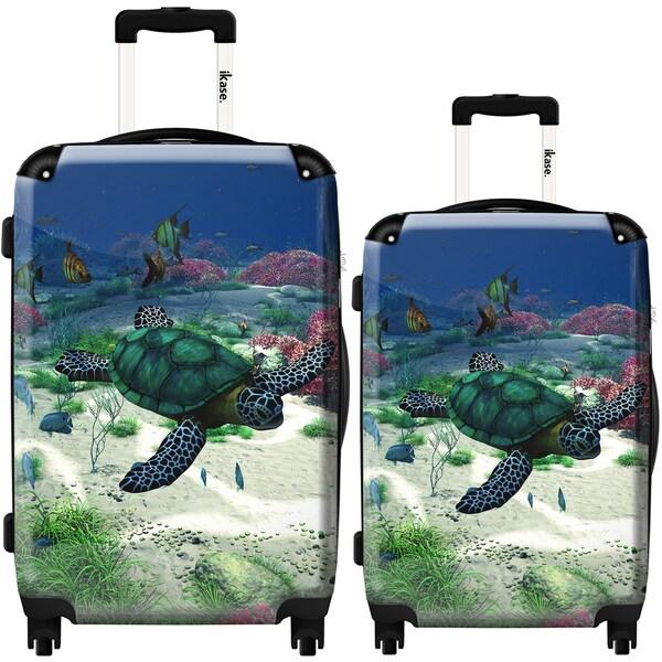 turtle bag with stick ikase sea turtle 2 piece fashion harside spinner luggage set