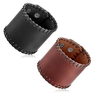 Men's Leather Stitched Wide Cuff Bracelet - 8.25 inches (62mm Wide)