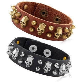 Men's Leather Skull and Bullet Studs Cuff Bracelet - 8 inches (21mm Wide)