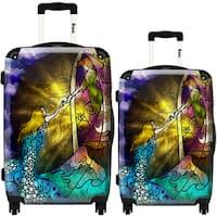 iKase 'Off To Neverland' 2-piece Fashion Harside Spinner Luggage Set