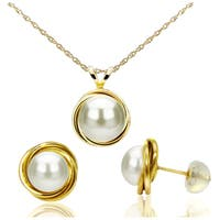 DaVonna 14k Yellow Gold White Pearl Love Know Pendant Necklace and Stud Earrings Set