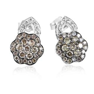 LeVian Women's 14K White Gold Multi-Diamond Flower Stud Earrings