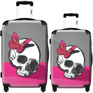 iKase 'Skull and Butterfly' 2-piece Fashion Harside Spinner Luggage Set