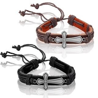 Men's Leather Flared Cross Adjustable Bracelet - 8.5 inches (14mm Wide)
