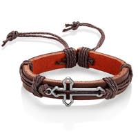 Men's Leather Open Cross Adjustable Bracelet - 8.5 inches (14mm Wide)