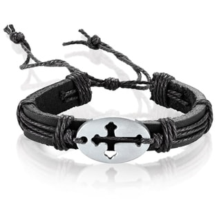 Men's Leather Open Cross ID Adjustable Bracelet - 8.5 inches (14mm Wide)