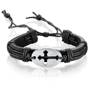 Men's Leather Open Cross ID Adjustable Bracelet - 8.5 inches (14mm Wide)