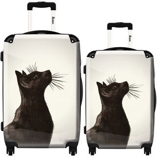 iKase 'Black Cat' 2-piece Fashion Harside Spinner Luggage Set