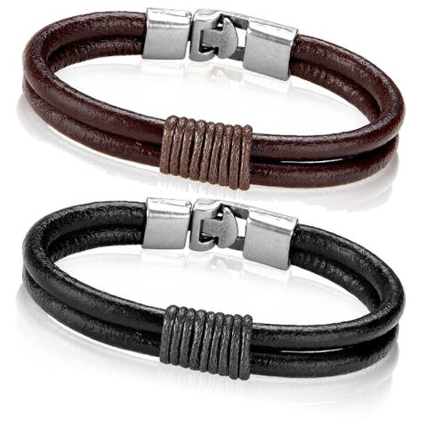 Crucible Leather Twined Double Strand Bracelet (12mm Wide) - 8 inches