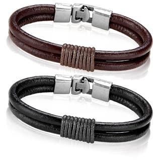 Men's Leather Twined Double Strand Bracelet - 8 inches (12mm Wide)|https://ak1.ostkcdn.com/images/products/12377786/P19201351.jpg?impolicy=medium