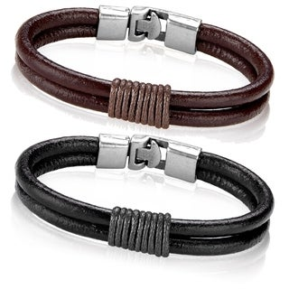 Men's Leather Twined Double Strand Bracelet - 8 inches (12mm Wide)
