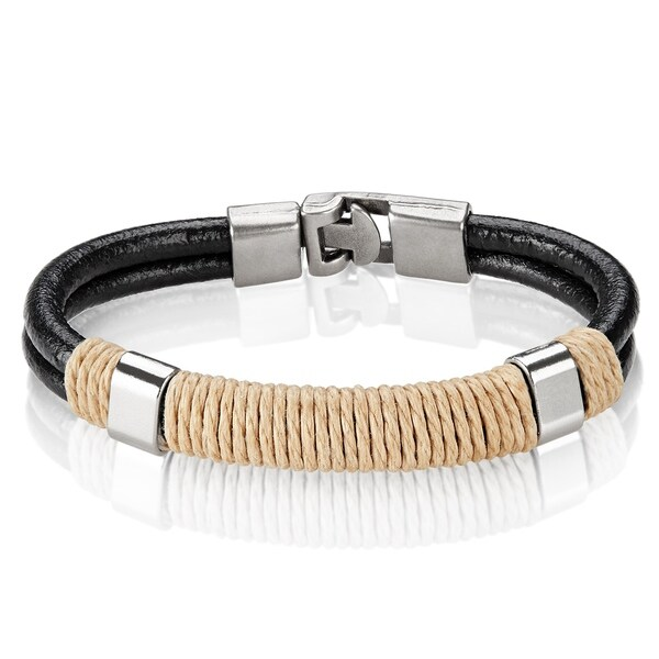 Black Double Strand Leather Bracelet - 8 inches (11mm Wide). Opens flyout.