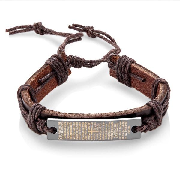 Men X27 S Leather Lord Prayer Adjule Bracelet 8 5