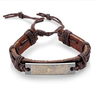 Men S Leather Lord Prayer Adjule Bracelet 8 5 Inches