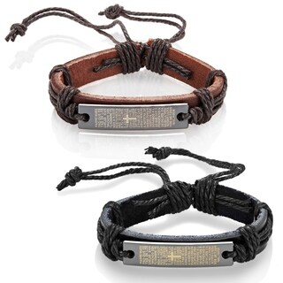 Men's Leather Spanish Lord's Prayer Adjustable Bracelet - 8.5 inches (12mm Wide)