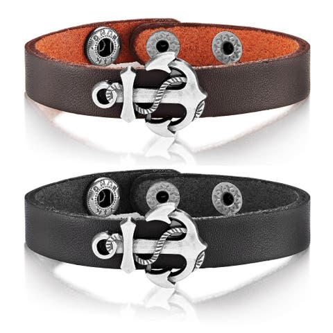 Crucible Leather Anchor Charm Cuff Bracelet (22mm Wide) - 8.5 inches