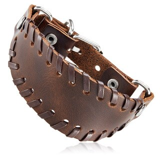 Men's Brown Leather Stitched Bund Buckle Cuff Bracelet - 8.5 inches (36mm Wide)