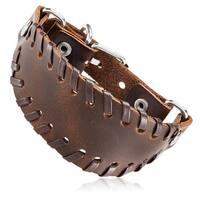Men's Brown Leather Stitched Bund Buckle Cuff Bracelet - 8.5 inches (36mm Wide)