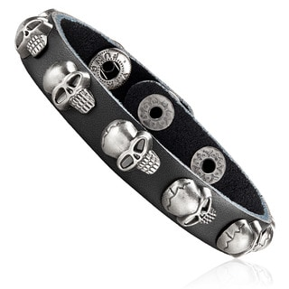 Men's Black Leather Skull Stud Cuff Bracelet - 8 inches (12mm Wide)