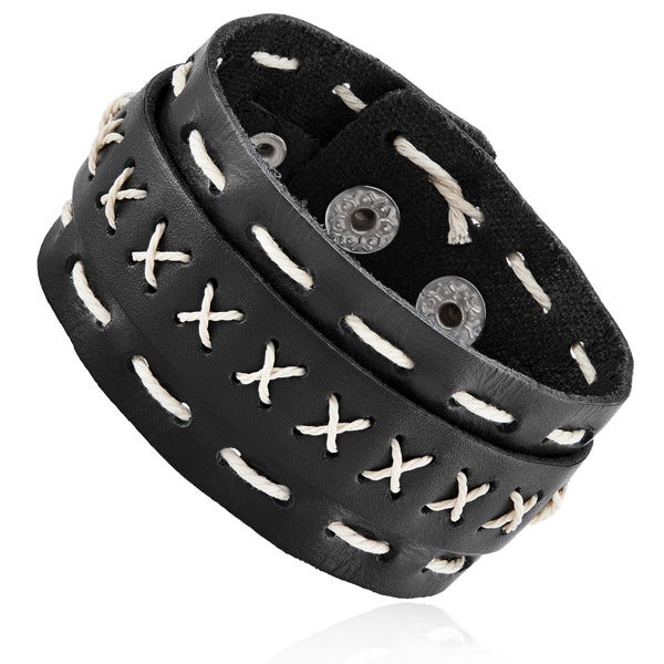 Men's Black Leather Double Layer Cuff Bracelet - 7.5 inches (26mm Wide)