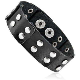 Men's Black Leather Studded Layered Cuff Bracelet - 8 inches (21mm Wide)