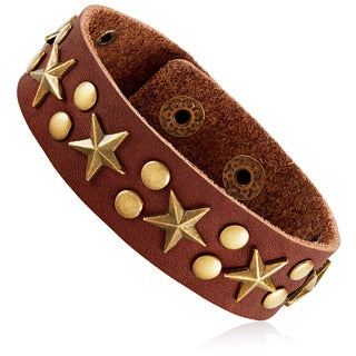Men's Brown Leather Star Studded Cuff Bracelet - 8 inches (21mm Wide)