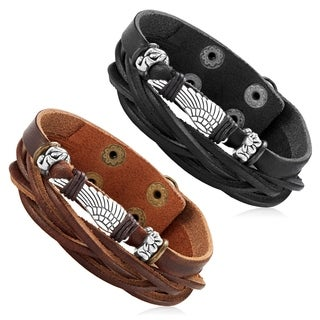 Men's Leather Wing Charm Double Strand Cuff Bracelet - 7.5 inches (22mm Wide)