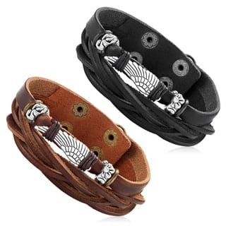 Men's Leather Wing Charm Double Strand Cuff Bracelet - 7.5 inches (22mm Wide)|https://ak1.ostkcdn.com/images/products/12377826/P19201508.jpg?impolicy=medium