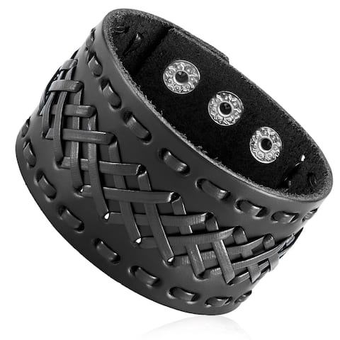 Cross Stitched Cuff Leather Bracelet (42mm Wide) - 8 inches