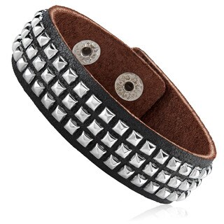 Men's Leather Studded Cuff Bracelet - 7.75 inches (21mm Wide)