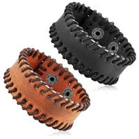 Men's Leather Stitched Cuff Bracelet - 7.5 inches (28mm Wide)