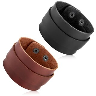 Men's Leather Double Layered Cuff Bracelet - 8 inches (44mm Wide)|https://ak1.ostkcdn.com/images/products/12377832/P19201507.jpg?_ostk_perf_=percv&impolicy=medium