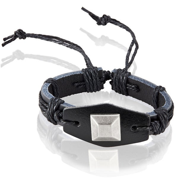 Men's Black Leather Square Stud Adjustable Bracelet - 8.5 inches (25mm Wide)