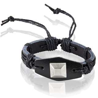 Men's Black Leather Square Stud Adjustable Bracelet - 8.5 inches (25mm Wide)
