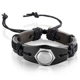 Black Leather Hexagon Stud Adjustable Bracelet