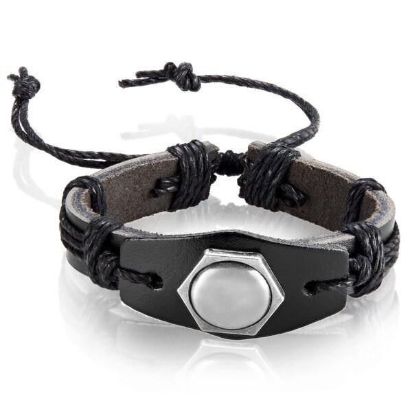 Men's Black Leather Hexagon Stud Adjustable Bracelet - 8.5 inches (24mm Wide)