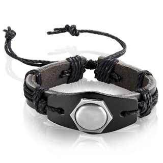 Men's Black Leather Hexagon Stud Adjustable Bracelet - 8.5 inches (24mm Wide)