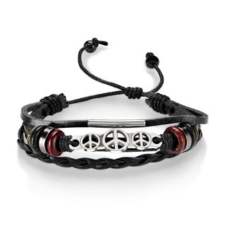 Peace ID Adjustable Triple Strand Black Leather Bracelet
