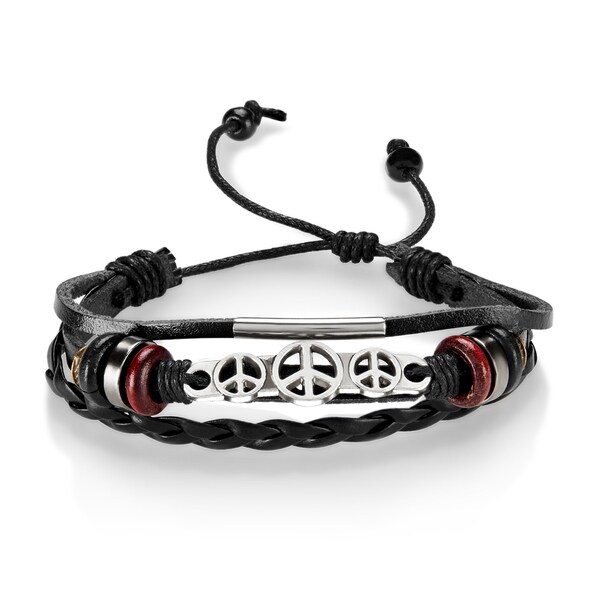 Peace ID Adjustable Triple Strand Black Leather Bracelet