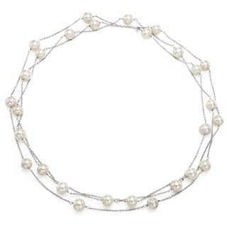 """DaVonna Sterling Silver 8.5-9mm White Freshwater Cultured Pearl Endless Tin Cup Chain Necklace, 60"""""""